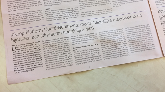 Artikel over IPNN in Groninger Ondernemers Courant